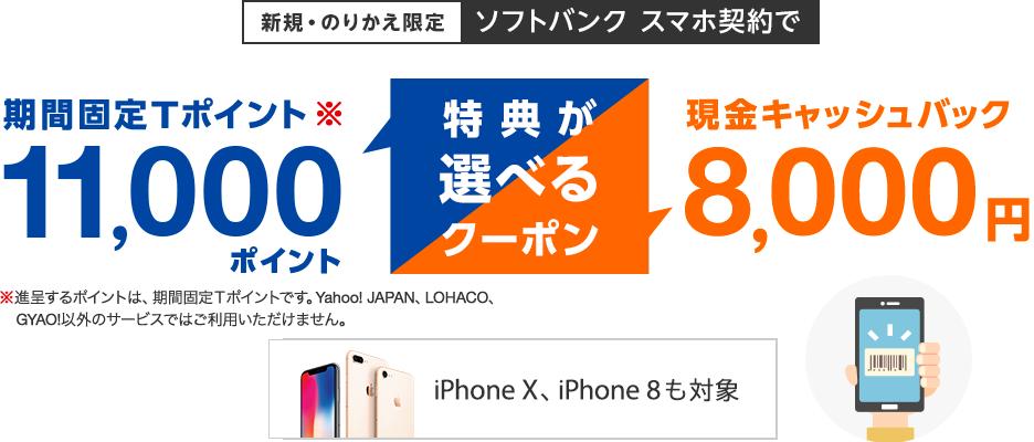 Yahoo!でソフトバンクのiPhoneXS、XRに使える11000Tポイントまたは8000円現金キャッシュバッククーポンを配信中。リアル、オンラインショップで使える。