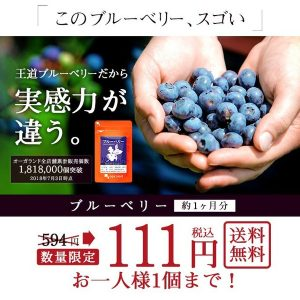 オーガランド Yahoo!店でブルーベリーサプリメントが111円送料無料セール。