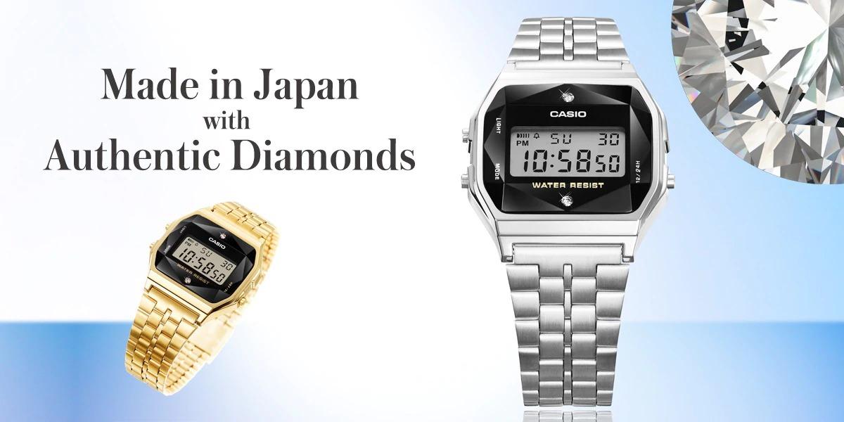カシオがチープじゃないチプカシを販売へ。天然ダイヤモンド搭載、ゴールドカラーもあり。5500円~8000円。