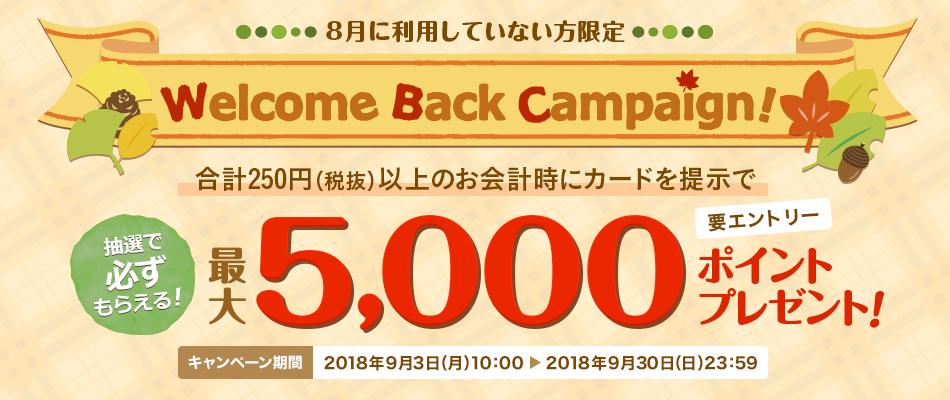 楽天ポイントカードを8月に利用していない人向け、250円以上購入時に提示で最大5000ポイントが当たる。~9/30。