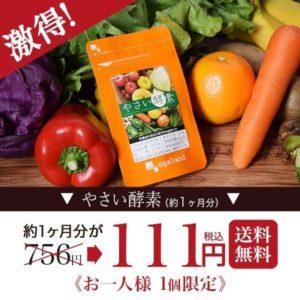 Yahoo!ショッピングでやさい酵素 サプリメントが756円⇒111円。
