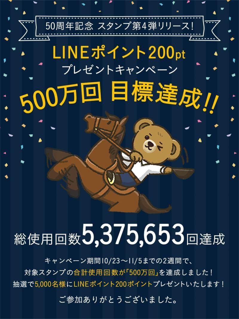 ラルフローレンの対象スタンプが500万回超えで抽選で5000名にLINE200ポイントが当たる。~11/25。