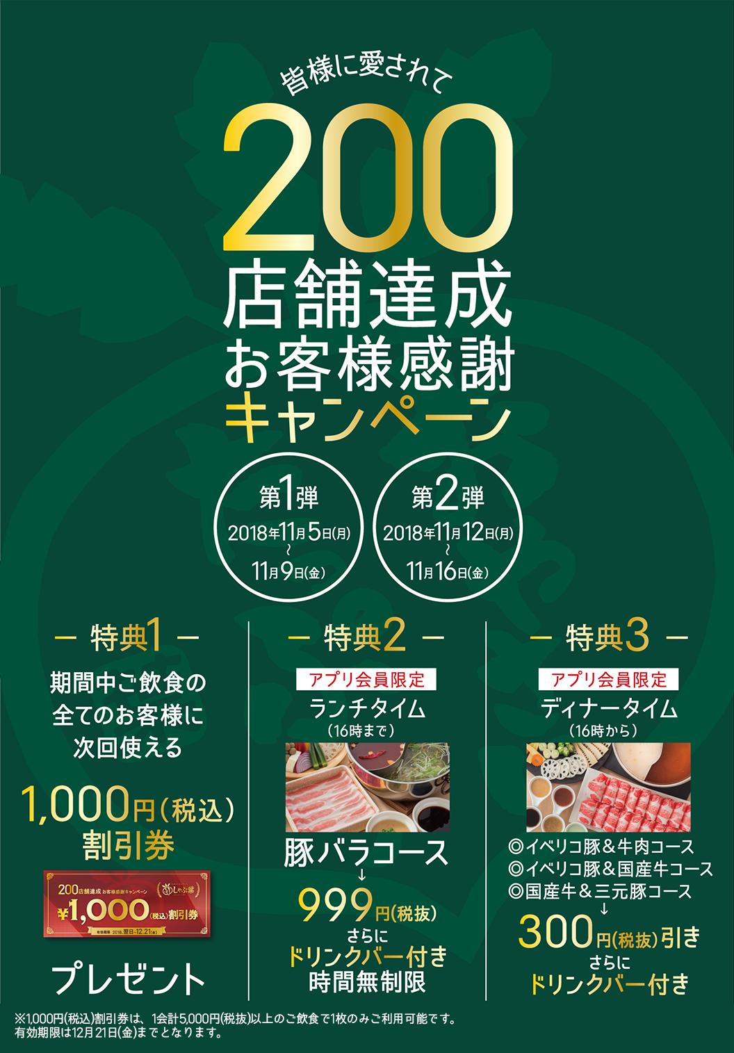 すかいらーくのしゃぶ葉で200店舗達成キャンペーン。1000円割引券、ランチ限定豚バラ食べ放題999円、ディナータイム300円引き、更にドリンクバー付き。~11/16までの平日。