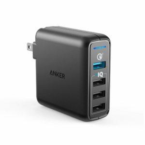 アマゾンでAnker PowerPort Speed 4 (QC3.0搭載 4ポート 43.5W USB急速充電器) がタイムセール中。
