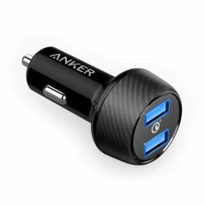 アマゾンでAnker PowerDrive Speed 2 (Quick Charge 3.0 & Power IQ対応 39W 2ポート カーチャージャー) がタイムセール中。