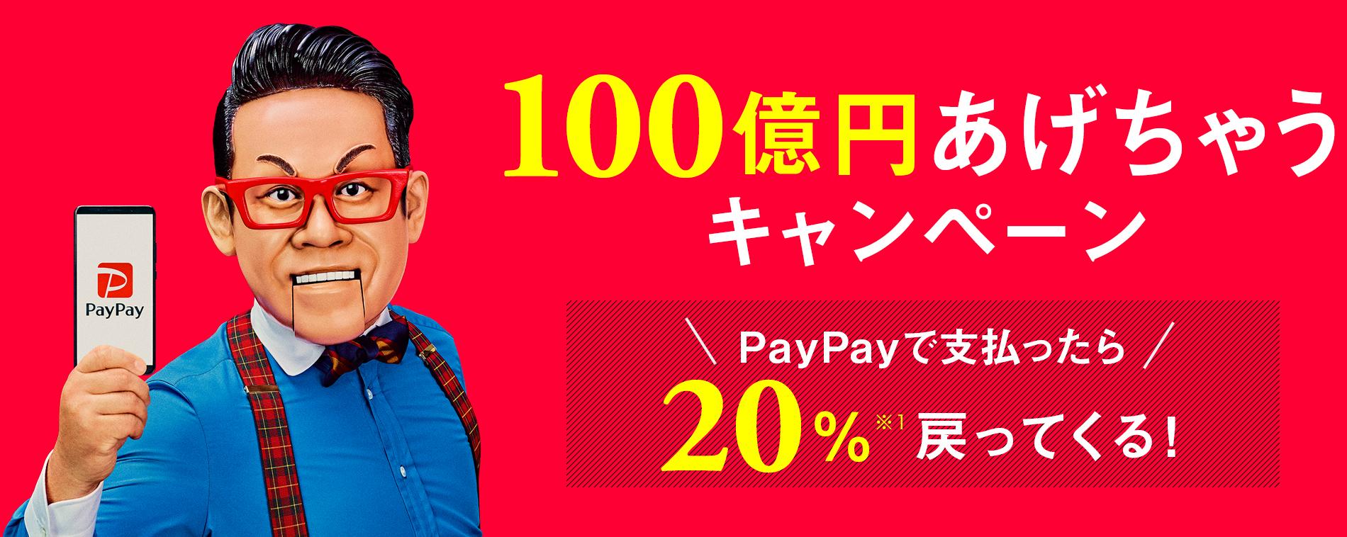 PayPay20%バックがついに終了へ。100億円が枯渇。~5/13。