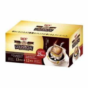 アマゾンでUCC ゴールドスペシャル ドリップコーヒーアソートパック 25Pの半額クーポンを配信中。1杯27円のまずまずのコスパ。