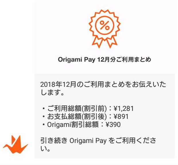管理人のOrigamiPayの割引累積額はこちら。率はすごいが額はしょぼい。領収書には載らない割引がウマウマ。