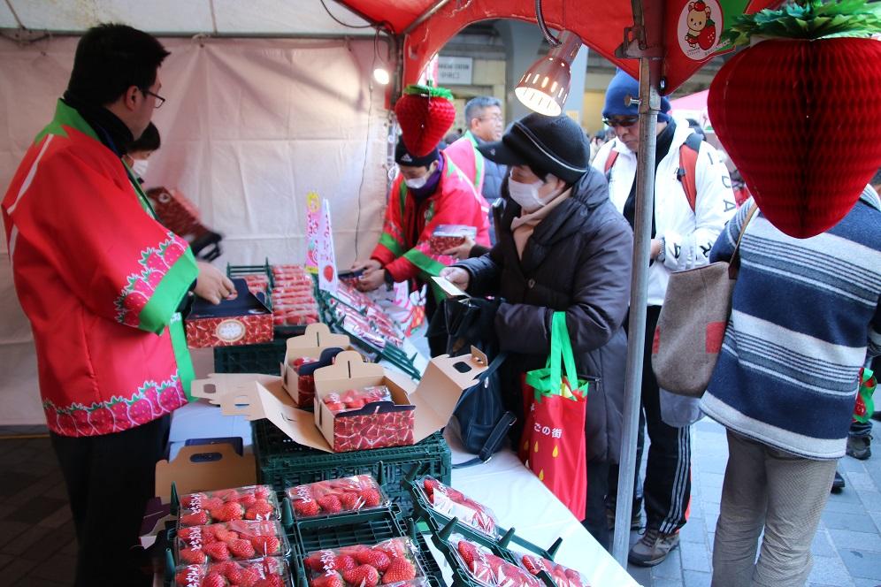 """もおか""""いちご""""フェスタin有楽町でイチゴが先着1000名にもれなく貰える。~1/14 11時~15時。"""