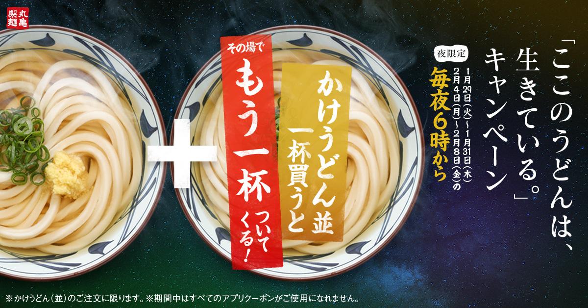 丸亀製麺で「ここのうどんは、生きている」キャンペーンでかけうどん並を一杯買うと、もう一杯ついてくる。1/29~2/8 18時~。期間中アプリクーポンは使用不可。