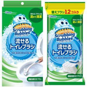 アマゾンでスクラビングバブル トイレ洗剤 流せるトイレブラシ 本体ハンドル1本+付替用16個セットがセール中。