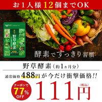 楽天で野草酵素1ヶ月分が111円送料無料で販売中。