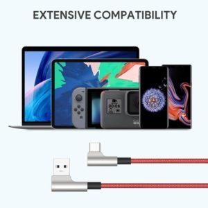 アマゾンでPD非対応&USB2.0止まりの安物ケーブル、AUKEY L字型コネクタ USB-C & USB-A ケーブル 2本セットの割引クーポンを配信中。