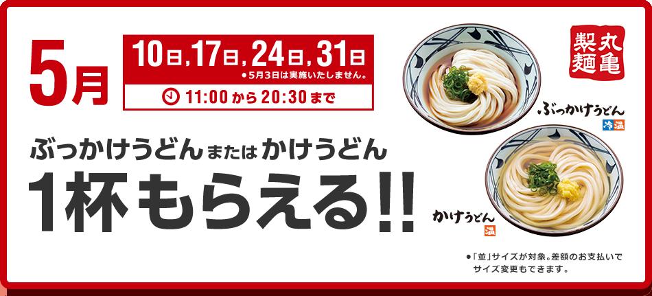 ソフトバンクのスーパーフライデーで丸亀製麺で「ぶっかけうどん」「かけうどん」が1杯貰える。毎週金曜日限定。
