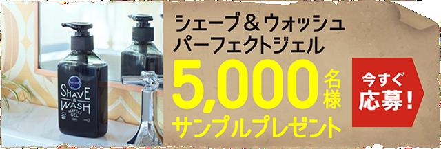 花王のシェービングフォーム兼洗顔剤の「サクセス シェーブ&ウォッシュ パーフェクトジェル」が抽選で5000名に当たる。~5/19。