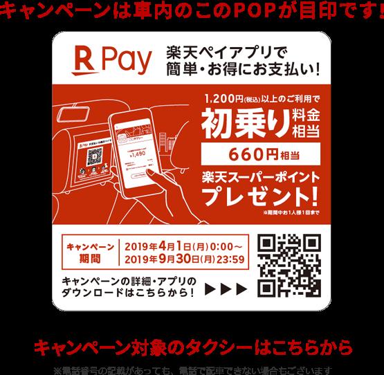 楽天ペイで大分県、熊本県、長崎県でタクシー利用で初乗り料金660ポイントバック。~9/30。