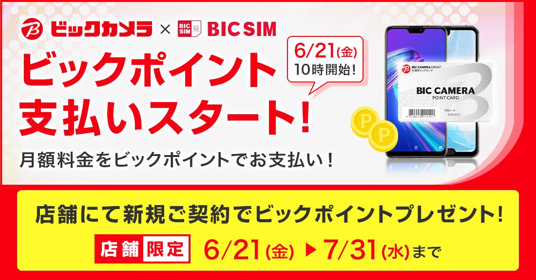 BIC SIMとビック光がビックポイントで支払い可能へ。新規申し込みで3000ポイント付与。6/21~。