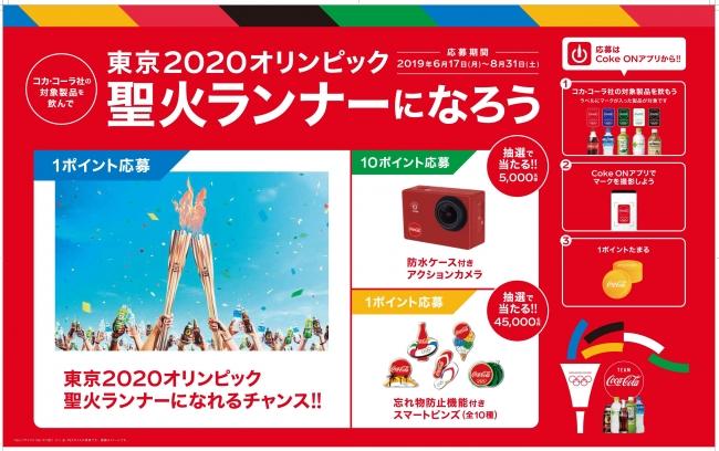コカ・コーラで東京2020オリンピック 応援キャンペーンで聖火ランナーになれるぞ。6/17~8/31。