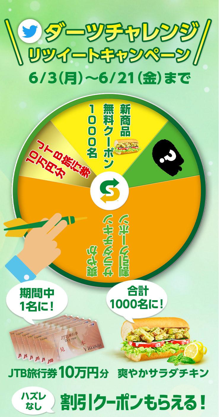 サブウェイで爽やかサラダチキンが1000名、JTB旅行券10万円分が1名、割引クーポンが全員にその場で当たる。~6/21。