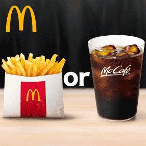 auスマートパスプレミアムで毎週金曜日はマクドナルドのポテトSまたはコーヒーMがもらえる。