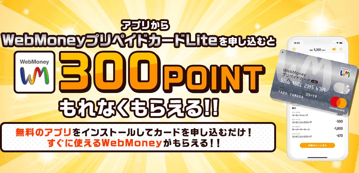 マスターカードのプリペイド「WebMoneyプリペイドカードLite」に申し込むと300ポイントがもれなく貰える。