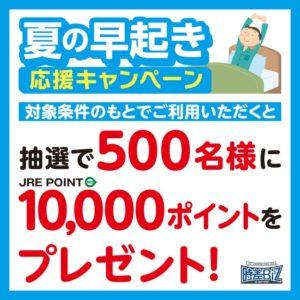 JR中央総武線、山手線で6:00~7:45に出場すると、抽選で500名に1万JREポイントが当たる寝不足キャンペーンを開催予定。~8/30。
