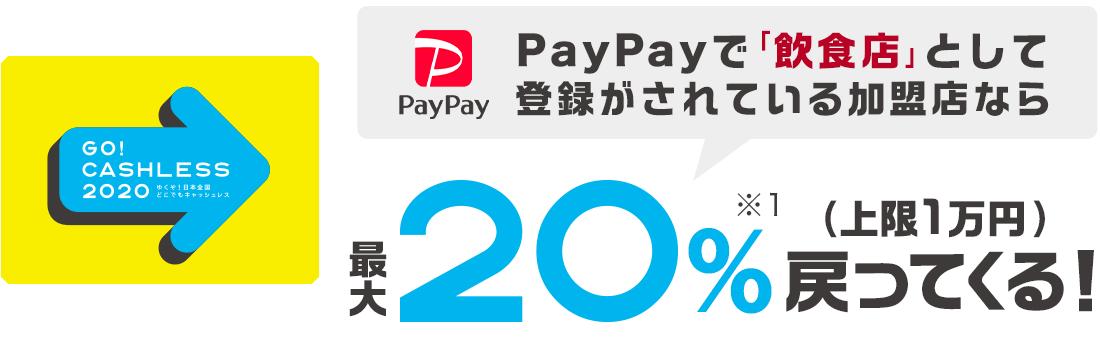 PayPayで上限1万円で20%バックとなる「プレフラPayPay!」を開催予定。飲食店&スーパー限定。11時~18時。