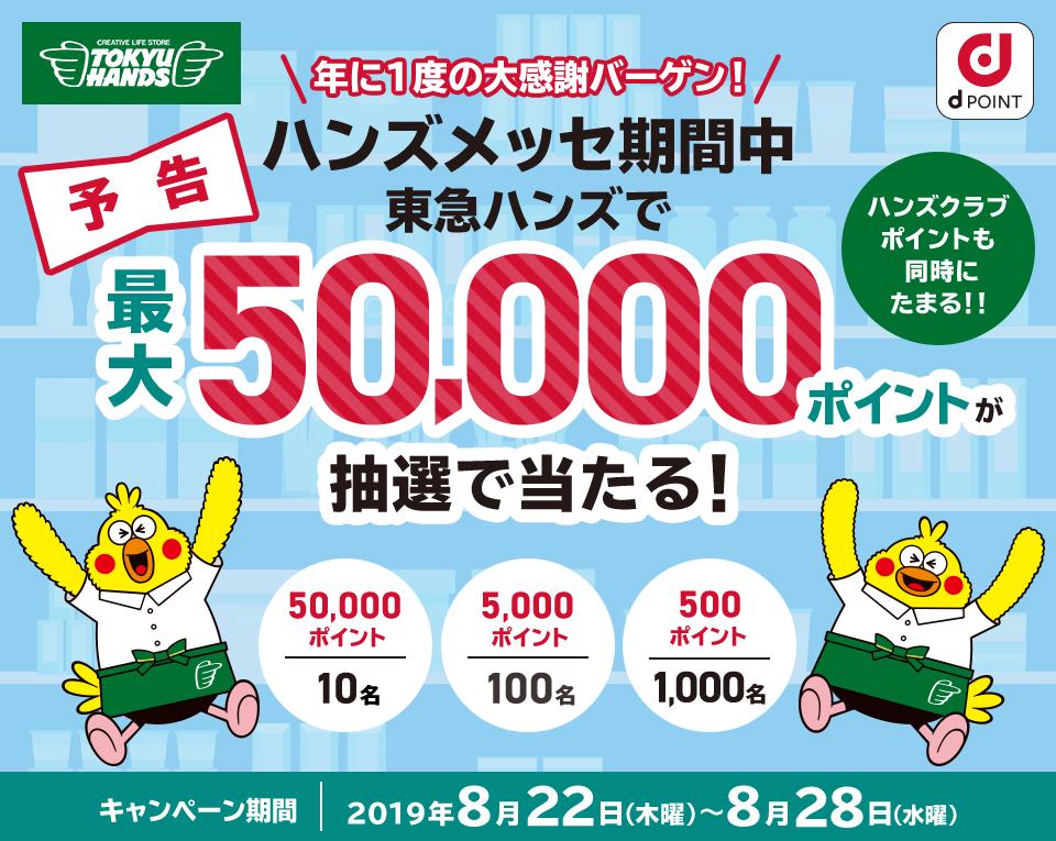 東急ハンズで3000円以上買うと、500ポイントが1000名に当たる。8/22~8/28。