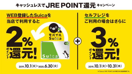 ニューデイズでSuica払いで2%還元、更にセルフレジ使用で+3%還元、合計5%還元。10/1~。