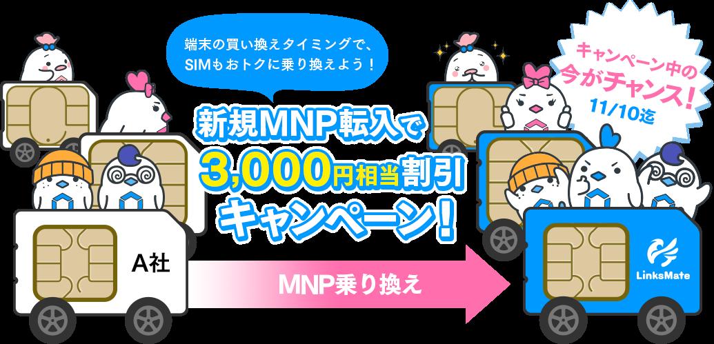 ゲーマー向けMVNOのLinksMateで新規MNP転入で3000円相当が無料。~11/10。