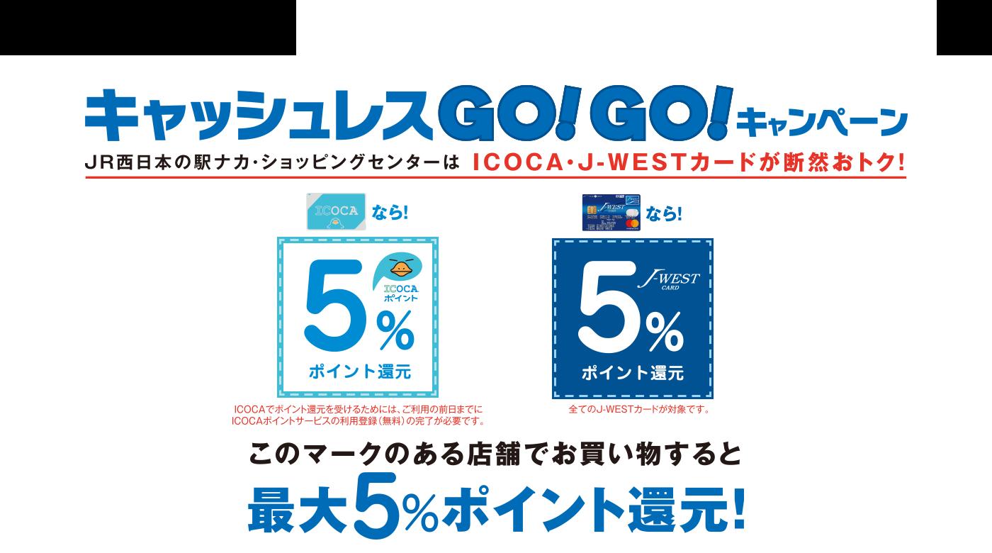 JR西日本の駅ナカ・ショッピングセンターでICOCA・J-WESTカードで5%ポイントバック。10/1~。