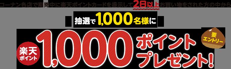 楽天ポイントカードをコーナンで提示して200円以上2日間以上買い物をすると抽選で1000名に1000ポイントが当たる。~10/31。