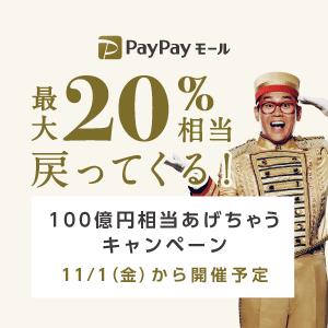 【継続開催中】PayPayモールとPayPayフリマ、最大20%バックとなる「100億円相当あげちゃう」キャンペーンを開催予定。11/1~2019/1/31。