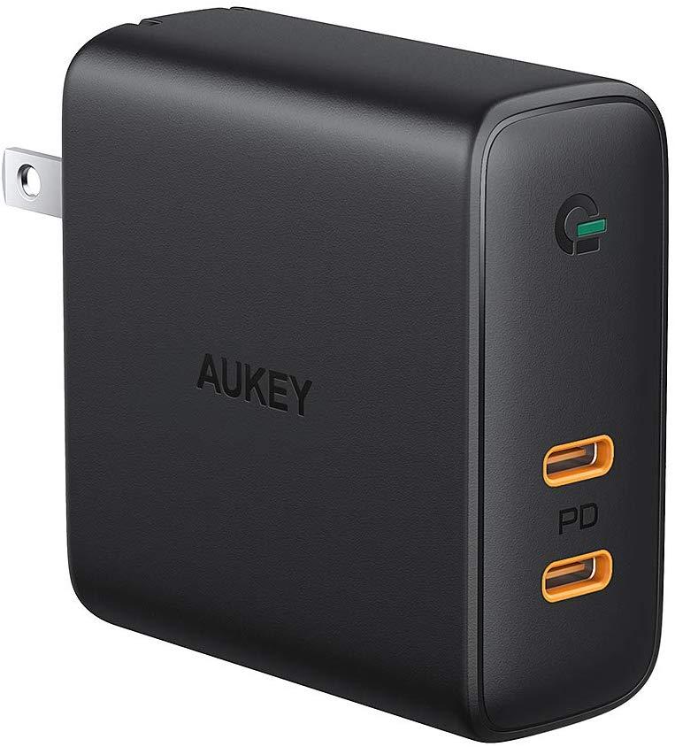 アマゾンでAUKEY ACアダプタ 充電器 USB-C 2ポート 63W GaN採用の割引クーポンを配信中。