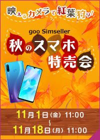 【最終日】Yahoo!ショッピング/楽天のgooSimsellerで映えるカメラで紅葉狩り!秋のスマホ特売会。ZenFone Max(M2)、HUAWEI nova lite 3が100円。11/1~11/18 11時。
