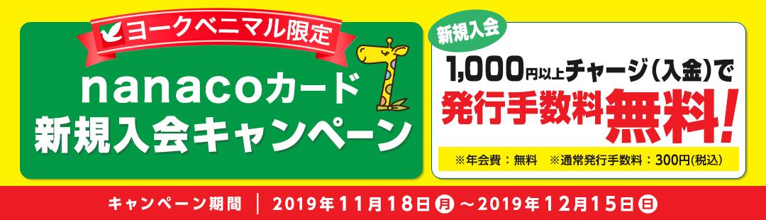 nanacoカードの新規発行手数料300円がヨークベニマル限定で無料。1000円以上チャージが必要。~12/15。