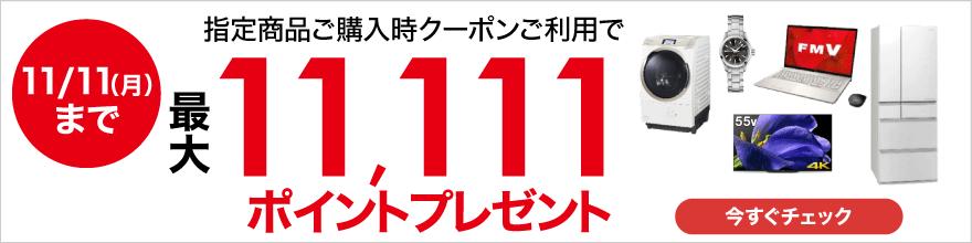 ビックカメラ.comでいい買物の日キャンペーン。+3%ポイントアップクーポンと、11111円分のポイントが貰える。11/8~11/11。