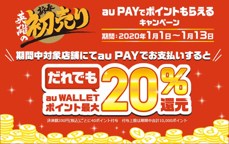 auPayで家電量販店で20%バック。au以外のユーザーも対象。上限5万円まで1万Pバック。1/1~1/13。