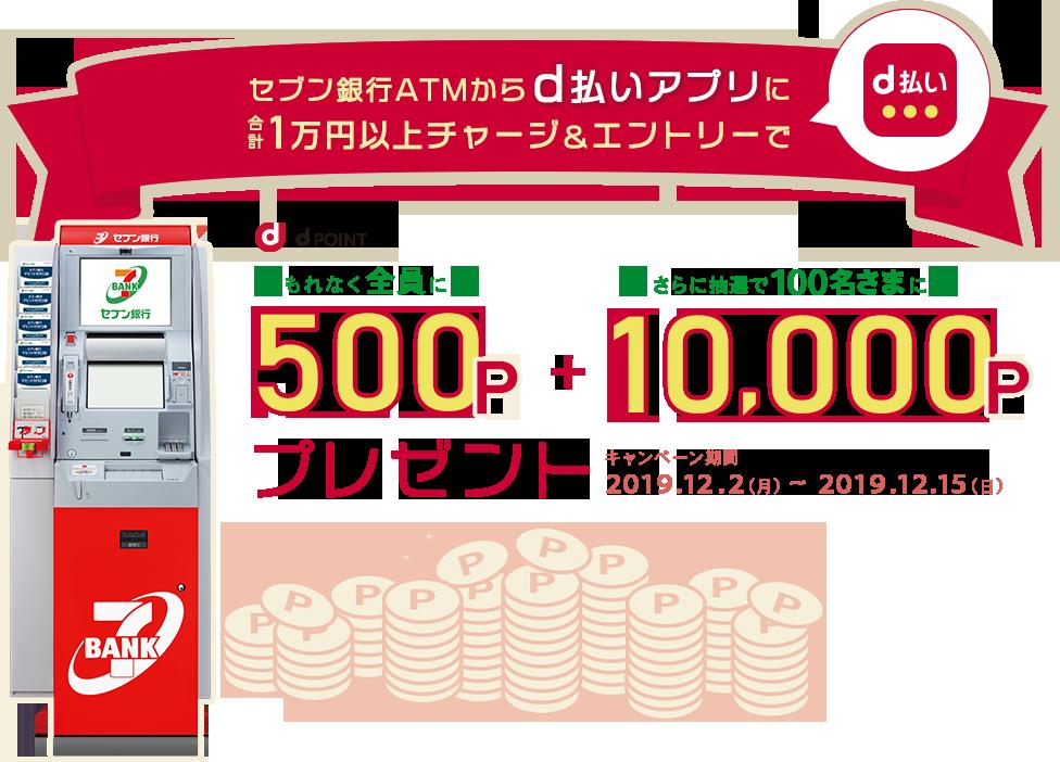 セブン銀行ATMからd払いアプリに1万円以上チャージで500Pがもれなく貰える。抽選で100名に1万Pが当たる。~12/15。