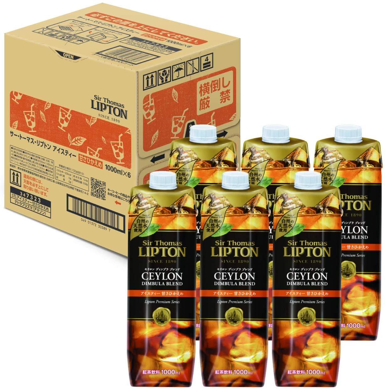 アマゾンでキーコーヒー サー・トーマス・リプトン アイスティー 甘さひかえめ テトラプリズマ 1000ml ×6本がセール中。