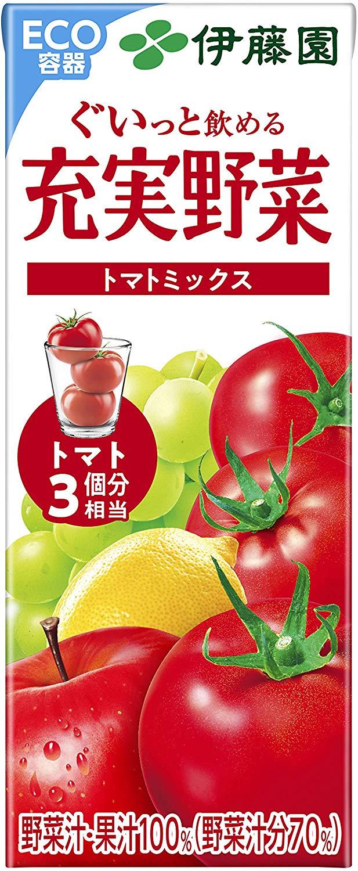 アマゾンで伊藤園 充実野菜 トマトミックス (紙パック) 200ml ×24本が半額クーポンを配信中。