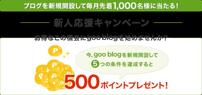 今更gooブログを新規開設すると先着1000名に500ポイントが当たる。~3/31。