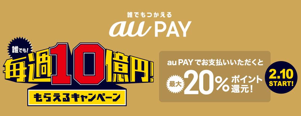 auPayで全店舗で20%バック。コンビニやビックカメラも対象。上限70000円分、35万円までが対象。2/10~3/29。