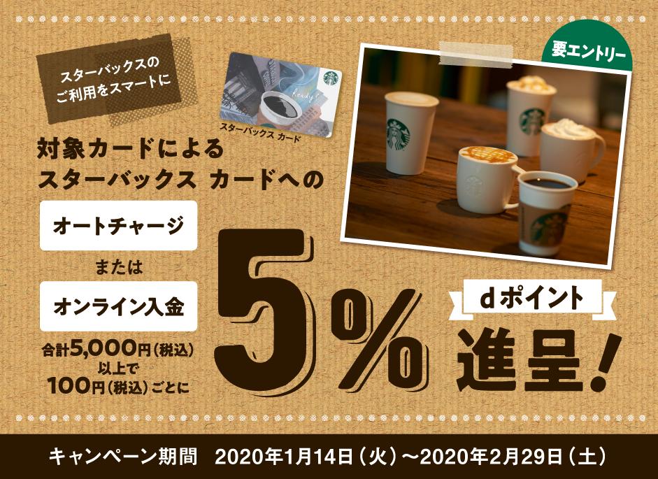 dカードでスターバックスカードにチャージすると5000円以上で5%バック。スタバが実質5%OFF。~2/29。