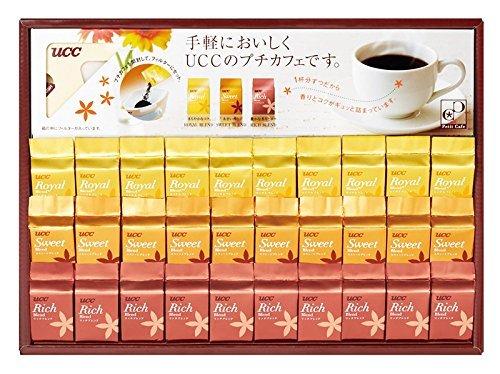 アマゾンでUCC コーヒー ギフト プチカフェ ドリップコーヒー ペーパードリッパーが半額、それでも高い。