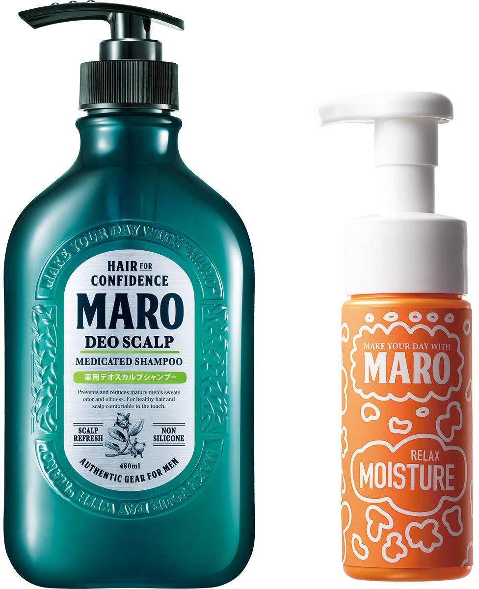 アマゾンでMARO(マーロ) 薬用 デオスカルプシャンプー 泡洗顔付き セット 480ml+泡洗顔150mlが7割引セール。