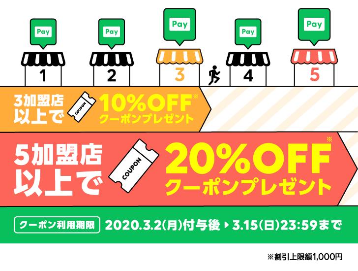 LINE PayでPayトクマラソン。3加盟店利用で10%OFF、5加盟店で20%OFFクーポンが後日もらえる。割引1000円まで。~2/29。