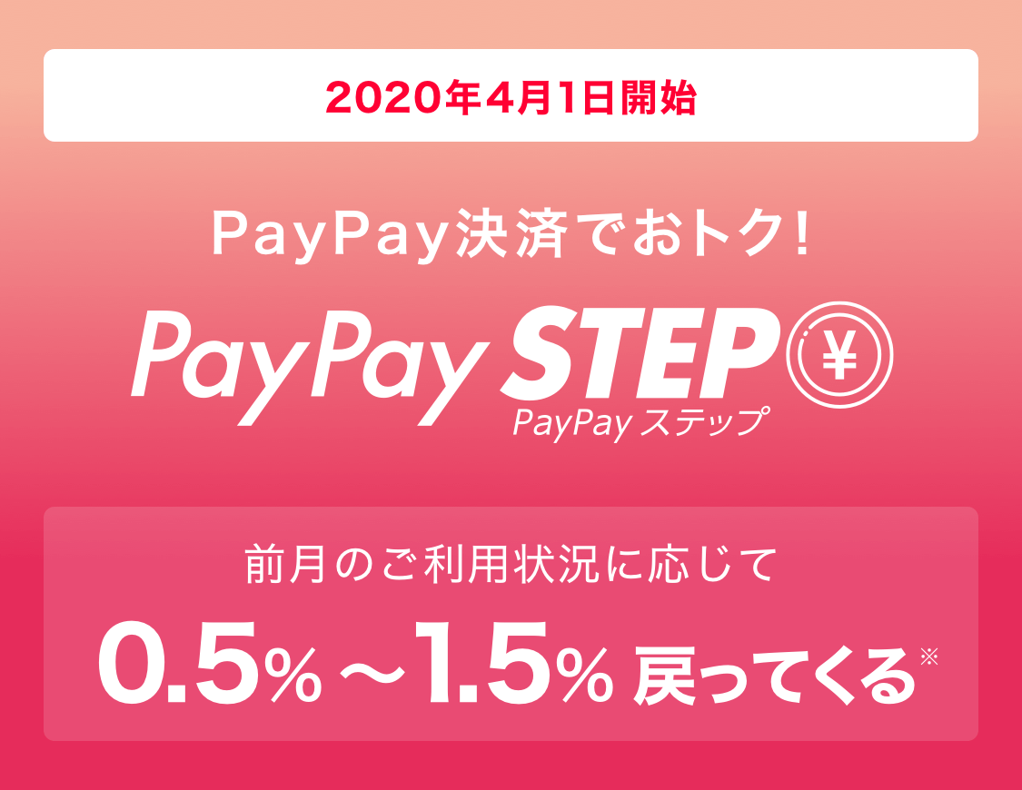 PayPayが還元率0.5%に改悪後に、決済50回で+0.5%、月額10万円以上決済で0.5%の合計1.5%還元となるPayPayStepを発表へ。4/1~。
