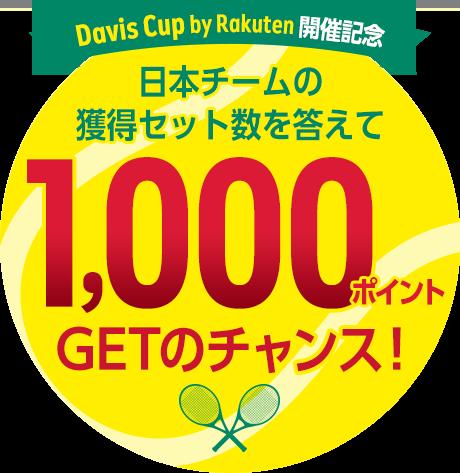 楽天スーパースクリーンでDavis Cup by Rakuten 2020 ファイナル予選で抽選で100名に1000ポイントが当たる。~3/12。