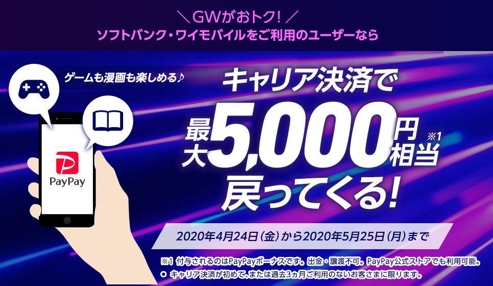 ソフトバンクでキャリア決済で最大20%、5000円PayPayバック。App&iTunes Store/Google Playストアなどが対象。~5/25。